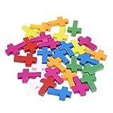 PRETYZOOM Cruz de Madera Encanto Mini Cruces Retro para Diy Artesanía Colgantes Pulsera Fabricación de Joyas Accesorios 100 Piezas (Colores Surtidos)
