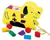 TOWO Perro con Ruedas y Piezas de Madera para clasificar - Juguete de Madera - Juego de Arrastre con Cuerda para bebes y niños de 1 año o mas - Juguetes de Madera educativos Infantil para encajar