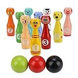 Alomejor Juego de Bolos para niños Toy, Juego de Bolos de Madera Caras de Animales 13 Piezas Tamaño Grande para niños pequeños, niños y niñas