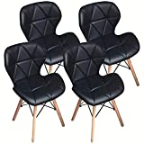 Nicemoods Set de 4 sillas de Comedor, Madera de Comedor con Asiento cómodo Acolchado para Silla Moderna de Oficina en el hogar(Negro)
