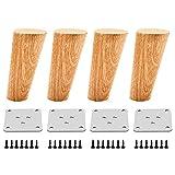 Qrity 4x Patas de Madera para Muebles Sofá Gabinete Oblicuas Cónicas TV de 100 mm de Altura con Alfombrilla Antideslizante, Tornillos y Placa de Montaje