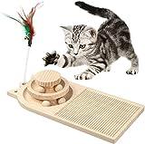 MoreJoy Rascador de gatos, juguete de madera para rascar para gatos, placa giratoria de doble capa con bola interactiva y tabla de rascar para gatos, 3 en 1