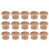 DOITOOL 30 Unids Pomo armario madera tiradores de muebles del cajón madera perillas de muebles Forma de Seta perillas del gabinete con Tornillos (2,8 x 2,8 x 2,4 cm, pequeños)