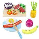 Cocina Infantil - Cortar Frutas Verduras Juguetes Madera Alimentos de Juguete Frutas y Verduras Juguete con 23PCS Set de Cocina Día del Niño Niñas 3 4 5 Años+