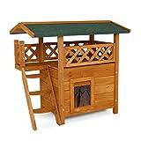 dibea Casa para gatos caseta de madera para gatos con terraza 77x50x73 cm Marrón