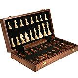 YANYAN Ajedrez Ajedrez de Madera, Tablero de ajedrez Plegable con Plegable portátil de Almacenamiento Interior Tarjeta de Juego de ajedrez Juego de Mesa (tamaño : 45cm)