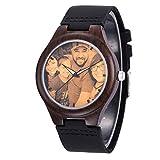 Junmei Reloj de Madera Personalizado con Foto o Mensaje Regalo Personalizado de Doble Cara Regalo del día del Padre para Mujeres Hombres