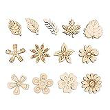 Amosfun 50 Piezas Adorno de Madera en Forma de Flores Hojas Piezas de Madera para Scrapbooking Bricolaje (Burlywood)