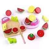 Frutas y Verduras Juguete para Cortar Alimentos Comida de Juguete Utensilios Cocina Juguetes de Madera Educativo Juegos de rol para Niño Niña 3 4 5 6 Años (21 Piezas)