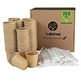 GoBeTree 150 Vasos de café Desechables Kraft con PLA para café expreso de 120 ml con agitadores de Madera en Funda de Papel para café de 11 cm