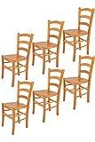 Tommychairs - Set 6 sillas Venice para Cocina y Comedor, Estructura en Madera de Haya Color Miel y Asiento en Madera