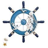 Timón Decorativo para Barco, con Decoración pared Madera de Ancla, Decoración de Volante de Madera, Timón para Barco de pared de Madera, para Decoración de Paredes (Azul)