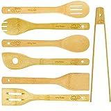 Juego de utensilios de cocina de 7 piezas, de bambú, 30 cm, utensilios de cocina, cubiertos de cocina, cuchara, cucharón, cucharón, utensilios de cocina