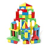 Melissa & Doug Piece Wood Blocks Set Bloques de Madera 100 Piezas, Multicolor (96062)