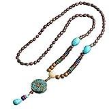 EXINOX Collar Budista Largo con Cuentas de Madera   Etnico Buda   Mujer   (Circulo)