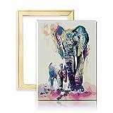 decalmile Pintura por Número de Kits DIY Pintura al óleo para Adultos Niños Colorido Elefantes Padre e Hijo 16'X 20' (40 x 50 cm, con Marco de Madera)
