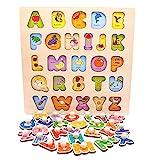 Nuheby Juguetes Montessori Puzzles Infantiles 3 4 5 6 Anos, Multicolor Rompecabezas Bloques de Letras ABC Abecedario para Niños Juguetes de Madera Educativos