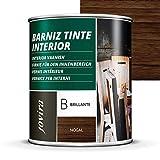 BARNIZ TINTE INTERIOR BRILLANTE, (6 COLORES), Barniz madera, Protege la madera, Decora y embellece la madera. (750 ml, NOGAL)