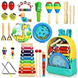 Jojoin 24 Pcs Juguetes Instrumentos Musicales, 12 Tipos de Juguetes de Instrumentos, Instrumentos Musicales Madera, Educativo Musical para Bebés, Regalos para Niños de Navidad y Cumpleaños etc.