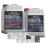Resina epoxi de 9kg 2K EP Madera Cristal Transparente Resina para laminar Cellpack–Resina de epoxy para GFK mesa suelo Terra Acuario Formas Diseño UV Estable