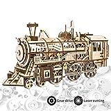 ROKR Modelo del Arte de la Locomotora del Rompecabezas de Madera del Corte 3D del Laser de con los Juguetes mecánicos del Engranaje-Mejores para los Muchachos y Las Muchachas (Locomotive)