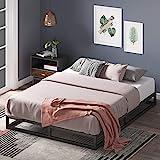 Estructura de cama metálica ZINUS Joseph 15 cm | Base para colchón | Somier de láminas de madera | Almacenamiento debajo de la cama | Para adultos, niños, adolescentes | 90 x 190 cm | Negro