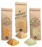 Smokey Olive Wood 3X 300ml, serrín de Madera para ahumar, Olivo + Haya, Naranjo, Almendro
