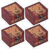 Buachois Caja de Cofre del Tesoro de Madera Caja de Almacenamiento Retro Europea Caja de Madera Vintage para Caja de Regalo de Joyería Y Decoración del Hogar