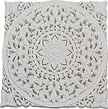 Mandala madera cuadrado blanco 50x50 cm