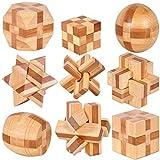 Holzsammlung 9 Piezas Cubo 3D Rompecabezas Madera Kong Ming Puzzle Bloqueo IQ Juguete Educativo para Niños Adultos #23