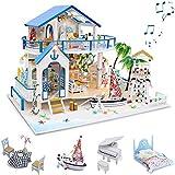 GuDoQi Casa de Muñecas de Madera DIY, Miniatura de la Casa de Muñecas con Muebles y Música, Modelo de Mini Apartamento Hecho a Mano, Blue Sea Legend