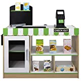 WOOMAX - Supermercado juguete Madera con Accesorios Tienda mostrador juguete Luz, Sonidos, Caja registradora juguetes, Pizarra infantil Juguetes niños 3 años Juguete educativo (85386)