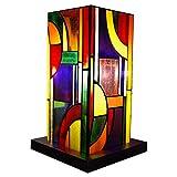 ADM - Pantalla Kandinsky a columna - Lámpara de noche estilo Tiffany con pantalla de cristal soldado y soporte en madera - Multicolor - H30 cm