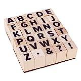 PandaHall 30 sellos de madera con letras A ~ Z, alfabeto y símbolos de madera para manualidades, diario de letras y álbumes de recortes