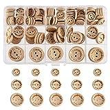 FEPITO hecho a mano con botón de madera de amor 15 mm 20 mm 25 mm forma redonda botones de madera para coser y decoraciones de fabricación