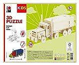 Marabu 0317000000004 Kids - Puzzle de Madera en 3D (38 Piezas), diseño de camión 19 x 8 cm, Color marrón
