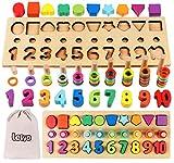 Lewo 3 en 1 Rompecabezas de Números de Madera Juguetes Montessori Juego de Conteo Bloques de Apilamiento Matemático Stem Juguetes Educativos para Niños de 3 4 5 años de Edad Niños Niñas