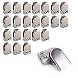 24 soportes de cristal de acero inoxidable, 55 x 33 mm, semicircular, abrazadera para cristal, barandilla a partir de 8,6