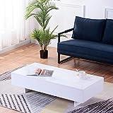 GOLDFAN Mesa de Centro Moderna Rectangular de Alto Brillo Mesa de Madera Adecuado para Sala de Estar Dormitorio Oficina, Blanco