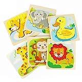 Fansteck 6pcs Puzzle Madera, Juguetes Montessoris, Puzzle Bebé, Rompecabezas de Madera Bebe, Juego Educativo Bebé para Niños 1 2 3 4 5 6 Años Aprendizaje Temprano Regalo de Cumpleaños Material Seguro