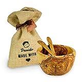 Darido Cuenco de Madera de Olivo Set de ensaladera y 2 cucharas para Mezclar | Cuencos Hechos a Mano para Frutas ensaladas Snack Sopa Dip Cereales Postres |Embalaje Ecológico | Hogar y Decoración
