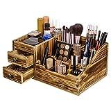 Organizador de Escritorio de Madera rústica Organizador de Maquillaje y Almacenamiento 2 cajones y 9 Compartimentos para el hogar o la Oficina Marrón rústica
