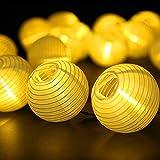 Farolillos Solares Exterior de Luces de Cuerda ALED LIGHT 6m 30 LED Blanco Cálido Impermeable Guirnalda Luces Exterior LED Linternas Farolillos Decorativos Solares para Decoración Jardines
