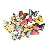 Changor 100pcs De Madera Mariposas Botones, 21 X 27mm Mezclado Colores De Madera Botones Artesanía Botones, por Bricolaje Obra De Coser Decoración