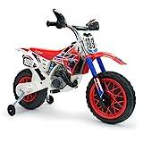 INJUSA - Moto Cross CR a Batería de 6V con Bandas de Goma en la Rueda Motriz y Acelerador en Puño Recomendada a Niños +3 Años