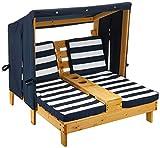 KidKraft- Tumbona de jardín doble para niños, de madera, con posavasos , Color Azul marino y blanco (524)