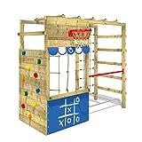 WICKEY Parque infantil de madera Smart Action azul, Área de juegos da exterior, Escalera Sueco con pared de escalada para niños