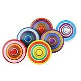 VABNEER Peonza de Madera Trompo Madera Peonza Trompo de Pintura Colorida Que Hace Girar Los Juguetes (6 Piezas,Color Aleatorio)