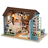KKmoon - Casa de muñecas de madera, kit de montaje para decoración del hogar, modelo de casa en miniatura, casa de muñecas de simulación autoensamblada