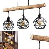 Lámpara colgante Bacabal de metal y madera en negro/natural, 3 focos, 3 bombillas E27 máx. 60 W, altura regulable, diseño de rejilla, apta para bombillas LED